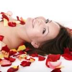 Beautiful young woman in spa. — Stock Photo