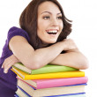Girl with stack color book . — Stock Photo #6336507