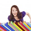 Stock Photo: Girl with stack color book .