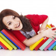 Girl with stack color book . — Photo