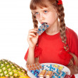 Child with fruit and vitamin pill. — Foto Stock