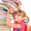 Child with pile of books. — Stock Photo #6336801