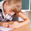 Schoolchild near blackboard. — Stock Photo