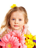 Happy child holding flowers. — Fotografia Stock