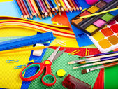 Close up of school supplies. — Stok fotoğraf