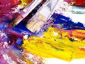 Gros plan de la peinture à l'huile mélangée dans la palette — Photo