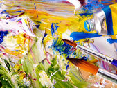 Close up of paint mixed on palette. — Stockfoto