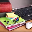 Stock Photo: Books and laptop. School supplies.