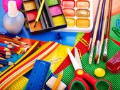 Närbild på skolmaterial. — Stockfoto