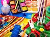Detailní záběr školní potřeby. — Stock fotografie