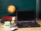 Books and laptop. School supplies. — Stock Photo