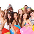 Group holding beach accessories. — Stock Photo #6405497