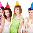 Happy group of celebrate birthday. — Stock Photo