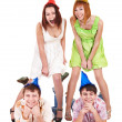Group of teenager in party hat. — Stock Photo