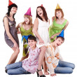 Group of teenager in party hat. — Stock Photo #6409474
