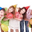 Group of teenagers celebrate birthday. - Stockfoto