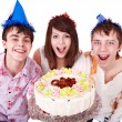 Royalty-Free Stock Photo: Group eat cake.