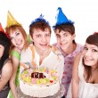 Group eat cake. — Stock Photo #6409488
