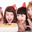 Group of happy young with cake. — Stock Photo #6409490