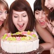 Group of happy young with cake. — Stock Photo #6409491