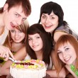 Group of happy young with cake. — Stock Photo #6409492