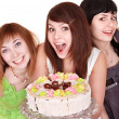 Group of happy young with cake. — Stock Photo #6409493