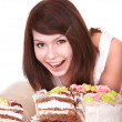 Young woman with chocolate cake. — Stock Photo