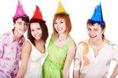 Happy group of celebrate birthday. — Stock Photo