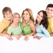 Group of happy holding banner. — Stock Photo #6410145