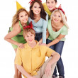 Group of young in party hat. — Stock Photo #6410153