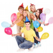 Group of young in party hat. — Stock Photo #6410158