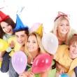 grupo de jovens no chapéu de festa — Foto Stock