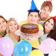 Group giving cake. — Stock Photo