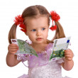 Stockfoto: Money euro and child girl in dress.
