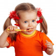 Child girl clean brush teeth. — Stock Photo #6723839