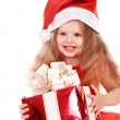 Child l in red dress with gift box. — Stok fotoğraf