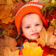 Stock Photo: Girl in autumn orange leaf and red berry.