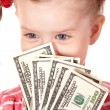 Happy child holding money dollar. — Stock Photo #6723892