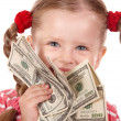 Happy child with money dollar. — Stock Photo