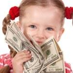 Happy child with money dollar. — Stock Photo