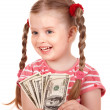 Happy child with money dollar. — Stock Photo #6723898
