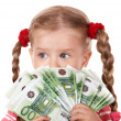 Happy child with money euro. — Stock Photo #6723899