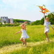 Stock Photo: Kids flying kite outdoor.