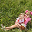 Little girls on green grass outdoor. — Zdjęcie stockowe