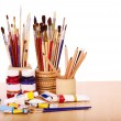 Close up of art utensils. — Stock Photo