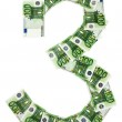Number from a money 3. — Stock Photo