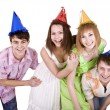 Group of teenagers celebrate birthday. — Stock Photo #6724794
