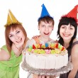 Group of happy young with cake. — Stock Photo #6724801