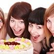 Group of happy young with cake. — Stock Photo #6724802