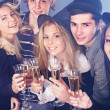 Group young drinking champagne. — Stock Photo